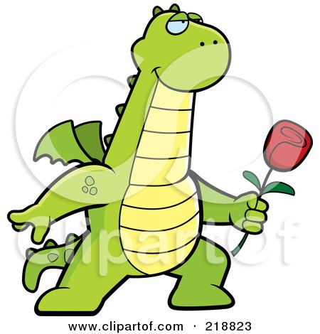 Royalty-Free (RF) Clipart Illustration of a Romantic Dragon Presenting A Red Rose For His Love by Cory Thoman
