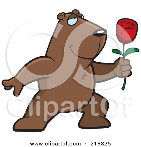 Royalty-Free (RF) Clipart Illustration of a Romantic Groundhog Presenting A Red Rose For His Love by Cory Thoman