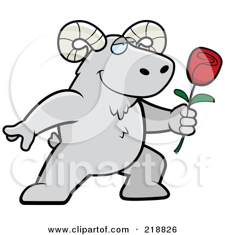Royalty-Free (RF) Clipart Illustration of a Romantic Ram Presenting A Rose by Cory Thoman