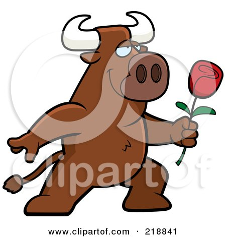 Royalty-Free (RF) Clipart Illustration of a Romantic Bull Presenting A Red Rose For His Love by Cory Thoman
