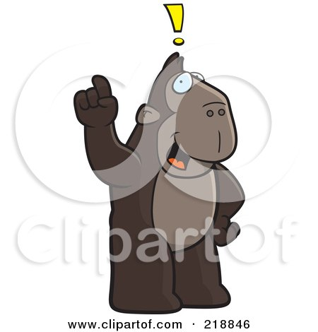 Royalty-Free (RF) Clipart Illustration of a Big Ape Standing Upright, With An Idea by Cory Thoman