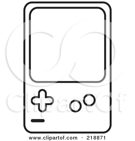 Royalty-Free (RF) Clipart Illustration of a Black And White Handheld Video Game Device by JR