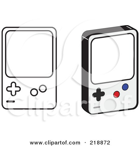 Royalty-Free (RF) Clipart Illustration of a Digital Collage Of Black And White And Colored Handheld Video Game Devices by JR