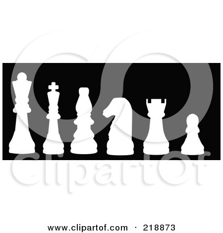 Royalty-Free (RF) Clipart Illustration of a Line Up Of Chess Pieces In White Silhouette by JR