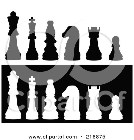 Royalty-Free (RF) Clipart Illustration of a Line Up Of Chess Pieces In Black And White Silhouette by JR