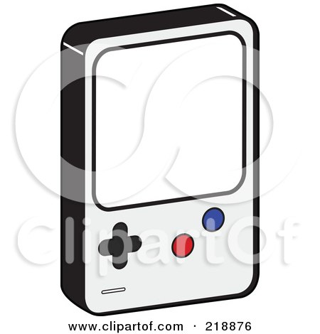 Royalty-Free (RF) Clipart Illustration of a Handheld Video Game Device With Blue And Red Buttons by JR