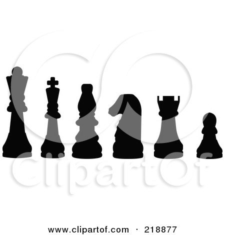 Royalty-Free (RF) Clipart Illustration of a Line Up Of Chess Pieces In Black Silhouette by JR