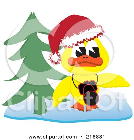 Royalty-Free (RF) Clipart Illustration of a Yellow Christmas Duck With A Camera By A Christmas Tree by kaycee
