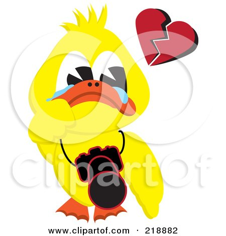 Yellow Duck Crying, With A Broken Heart And A Camera Around His Neck Posters, Art Prints