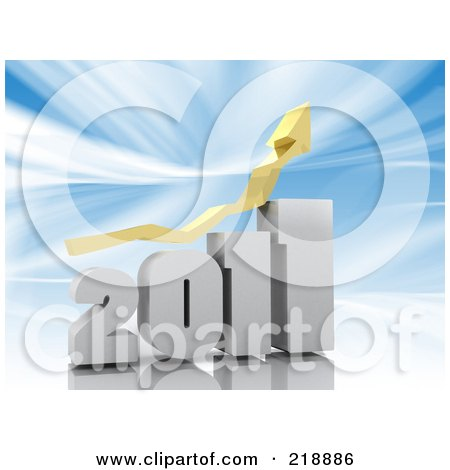 Royalty-Free (RF) Clipart Illustration of a Yellow Arrow Over A White 2011 Bar Graph Over Blue by MacX