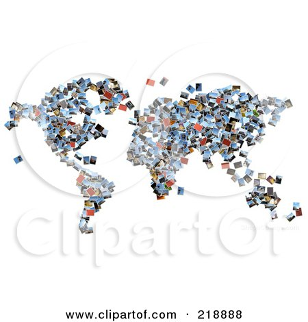 Royalty-Free (RF) Clipart Illustration of a Collage Of Photographs Forming A Map by MacX