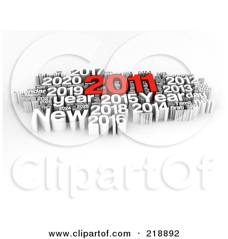 Royalty-Free (RF) Clipart Illustration of a 3d Red And White 2011 New Year Word Collage by MacX