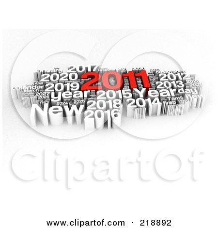 تهنئة بالعام الجديد 218892-Royalty-Free-RF-Clipart-Illustration-Of-A-3d-Red-And-White-2011-New-Year-Word-Collage