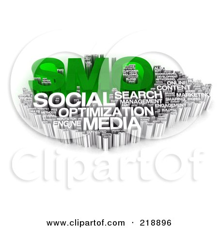 Royalty-Free (RF) Clipart Illustration of a 3d Green And White Smo Word Collage by MacX