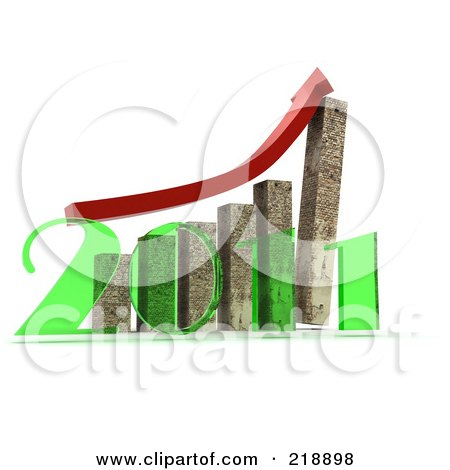 Royalty-Free (RF) Clipart Illustration of a Red Arrow Over Cement Towers On A Bar Graph In Front Of A Transparent Green 2011 by MacX
