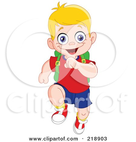 Happy Blond School Boy Running Forward Posters, Art Prints