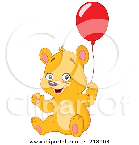 Royalty-Free (RF) Clipart Illustration of a Friendly Teddy Bear Waving And Holding A Red Balloon by yayayoyo