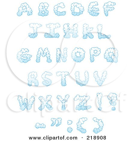 Royalty-Free (RF) Clipart Illustration of a Digital Collage Of Puffy Cloud Capital Letters And Symbols by yayayoyo