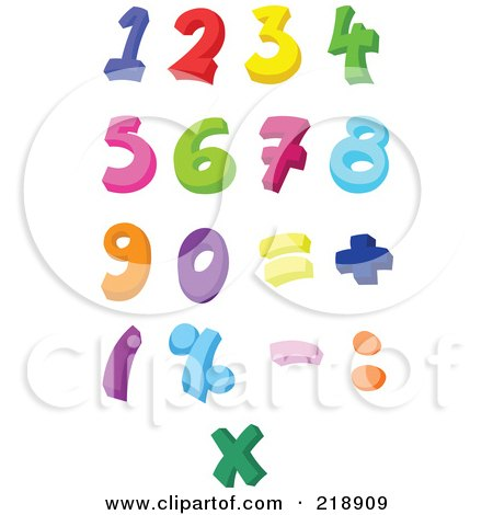Royalty-Free (RF) Clipart Illustration of a Digital Collage Of Colorful Numbers And Symbols by yayayoyo