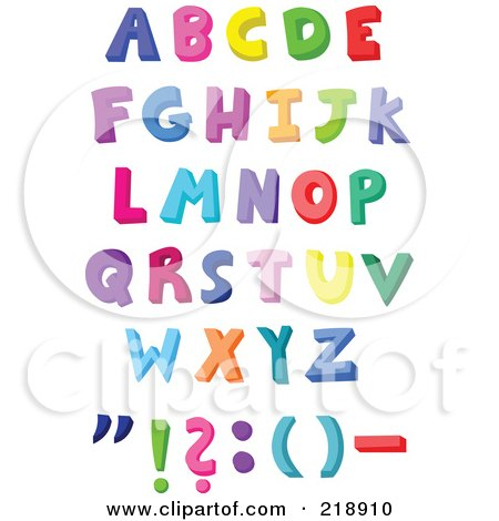 Royalty-Free (RF) Clipart Illustration of a Digital Collage Of Capital Colorful Letters And Symbols by yayayoyo