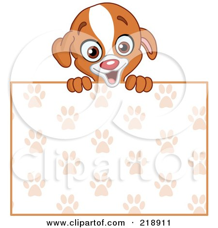 Royalty-Free (RF) Clipart Illustration of a Cute Puppy Looking Over A Blank Paw Print Sign by yayayoyo