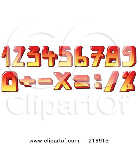 Royalty-Free (RF) Clipart Illustration of a Digital Collage Of Red And Yellow Numbers And Symbols by yayayoyo