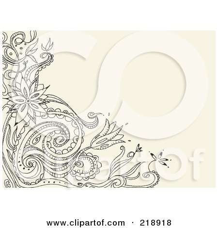 Royalty-Free (RF) Clipart Illustration of a Black Floral Doodle Corner On A Tan Background by yayayoyo