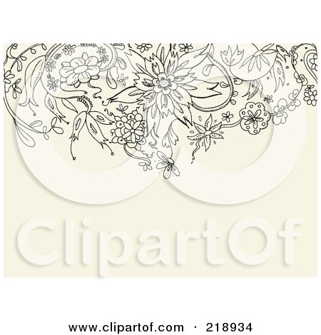 Royalty-Free (RF) Clipart Illustration of a Black Floral Doodle Border On A Tan Background by yayayoyo