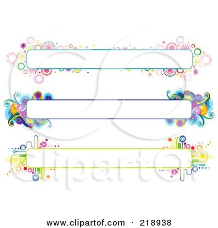 Royalty-Free (RF) Clipart Illustration of a Digital Collage Of Three Colorful Website Banner Headers - 9 by BNP Design Studio
