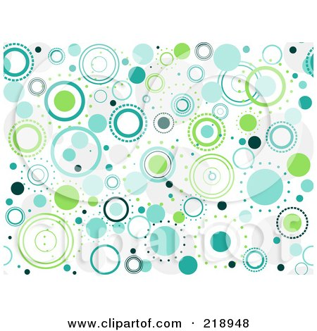 Royalty-Free (RF) Clipart Illustration of a Seamless Funky Background Of Blue And Green Circles On White by BNP Design Studio
