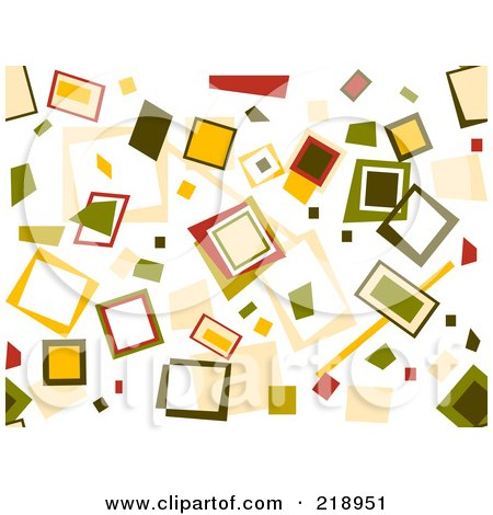 Royalty-Free (RF) Clipart Illustration of a Retro Background Of Scattered Squares On White by BNP Design Studio
