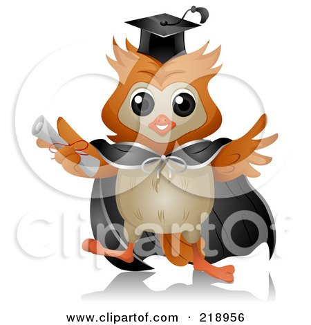 Royalty-Free (RF) Clipart Illustration of a Cute Owl Wearing A Cap And Gown by BNP Design Studio