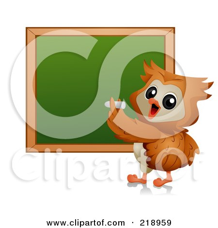 Royalty-Free (RF) Clipart Illustration of a Cute Owl Writing On A Chalk Board by BNP Design Studio
