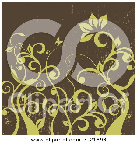 Clipart Picture Illustration of Green Curly Leafy Vines With One Large Flower And A Butterfly Over A Grunge Brown Background by OnFocusMedia