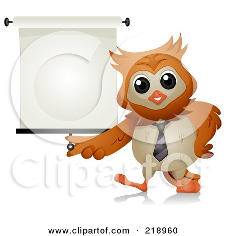 Royalty-Free (RF) Clipart Illustration of a Cute Owl With A Presentation Screen by BNP Design Studio