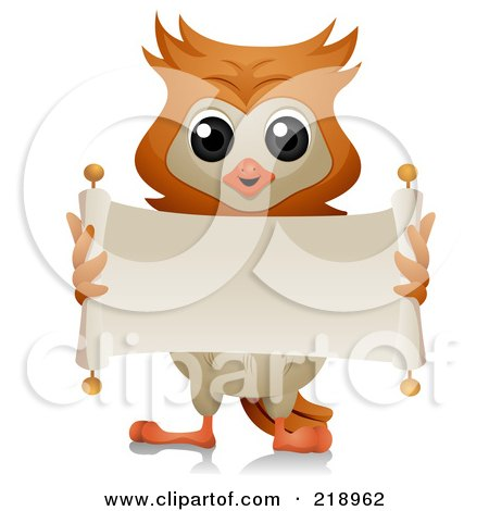 Royalty-Free (RF) Clipart Illustration of a Cute Owl Unrolling A Blank Scroll Banner by BNP Design Studio