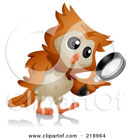 Royalty-Free (RF) Clipart Illustration of a Cute Owl Searching With A Magnifying Glass by BNP Design Studio