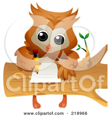 Royalty Free RF Clipart Illustration Of A Cute Owl Doing Homework On A Log