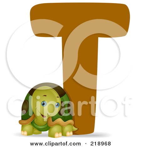 Royalty-Free (RF) Clipart Illustration of an Animal Alphabet With A Turtle By A T by BNP Design Studio