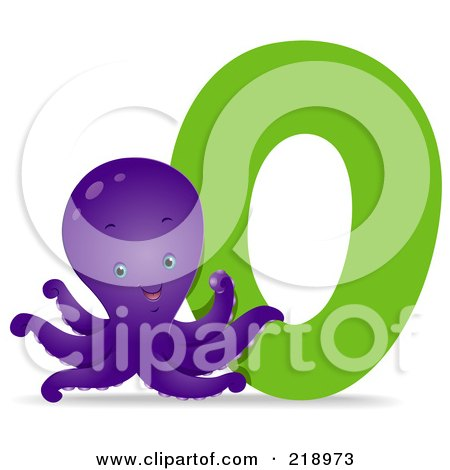 Royalty-Free (RF) Clipart Illustration of an Animal Alphabet With An Octopus By An O by BNP Design Studio