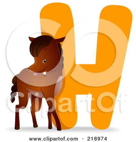 Royalty-Free (RF) Clipart Illustration of an Animal Alphabet With A Horse By An H by BNP Design Studio