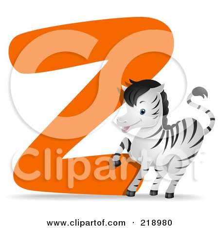 Royalty-Free (RF) Clipart Illustration of an Animal Alphabet With A Zebra By A Z by BNP Design Studio