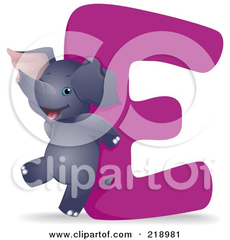 Royalty-Free (RF) Clipart Illustration of an Animal Alphabet With An Elephant By An E by BNP Design Studio