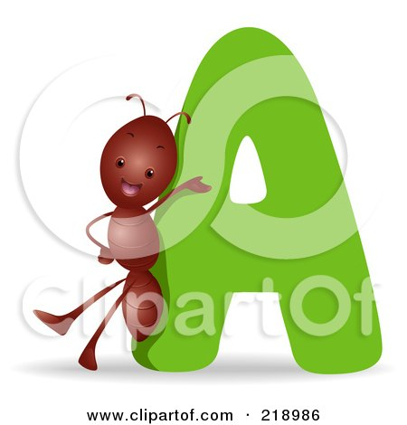Royalty-Free (RF) Clipart Illustration of an Animal Alphabet With An Ant By An A by BNP Design Studio