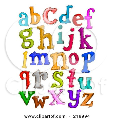 Royalty-Free (RF) Clipart Illustration of a Digital Collage Of Lowercase Sketched Letters In Different Colors by BNP Design Studio