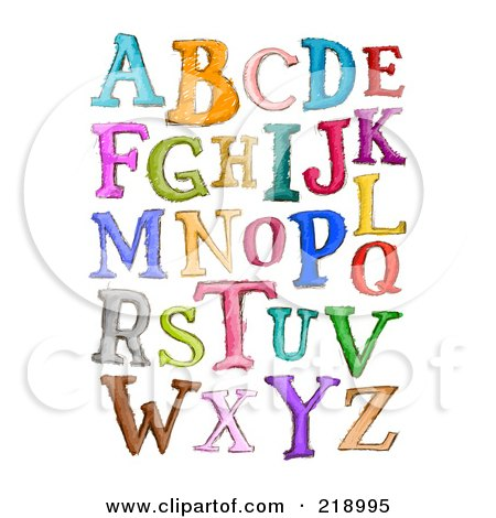 Royalty-Free (RF) Clipart Illustration of a Digital Collage Of Capital Sketched Letters In Different Colors by BNP Design Studio