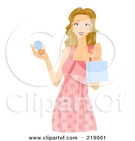 Royalty-Free (RF) Clipart Illustration of a Dirty Blond Woman Holding A Shopping Bag And Makeup Compact by BNP Design Studio