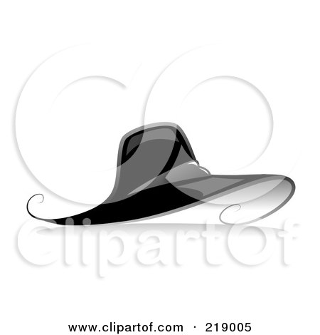 Royalty-Free (RF) Clipart Illustration of an Ornate Black And White Hat Design by BNP Design Studio