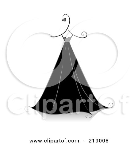 Royalty-Free (RF) Clipart Illustration of an Ornate Black And White Dress Design With Hearts by BNP Design Studio