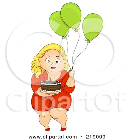 Royalty-Free (RF) Clipart Illustration of a Chubby Woman Carrying A Birthday Cake And Balloons by BNP Design Studio